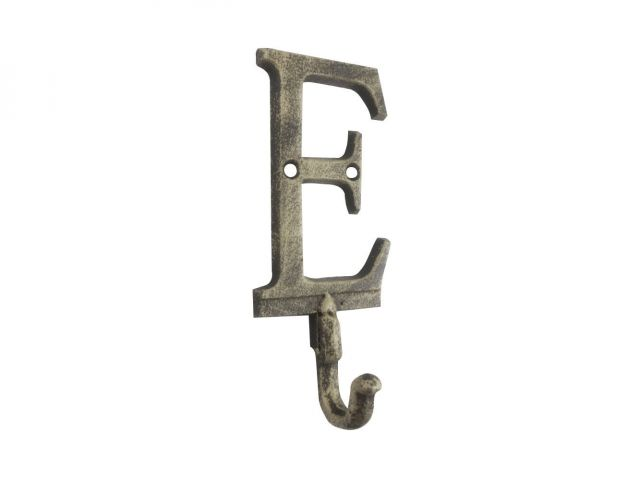 Rustic Gold Cast Iron Letter E Alphabet Wall Hook 6