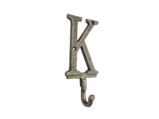 Rustic Gold Cast Iron Letter K Alphabet Wall Hook 6