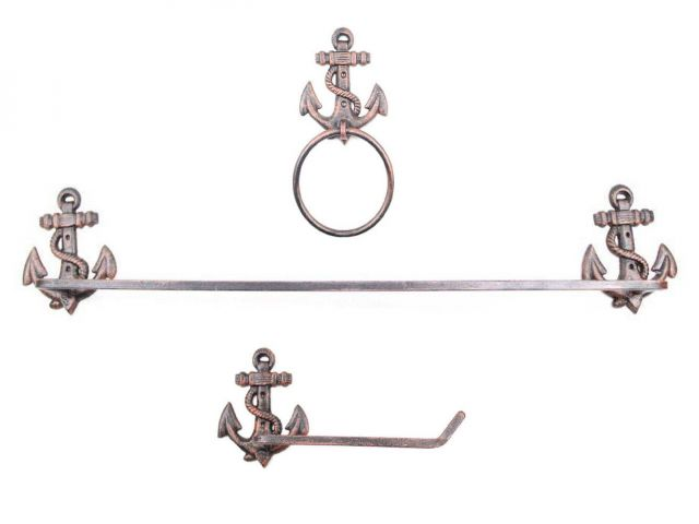 Rustic Copper Cast Iron Anchor Bathroom  Set of 3 - Large Bath Towel Holder and Towel Ring and Toilet Paper Holder