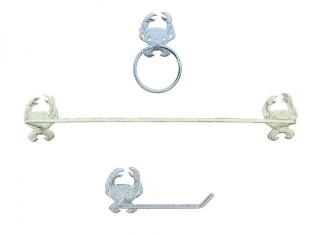 Whitewashed Cast Iron Crab Bathroom Set of 3 - Large Bath Towel Holder and Towel Ring and Toilet Paper Holder