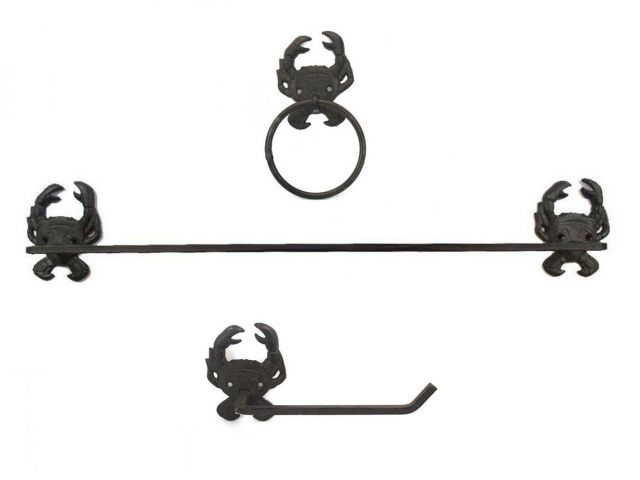 Cast Iron Crab Bathroom Set of 3 - Large Bath Towel Holder and Towel Ring and Toilet Paper Holder