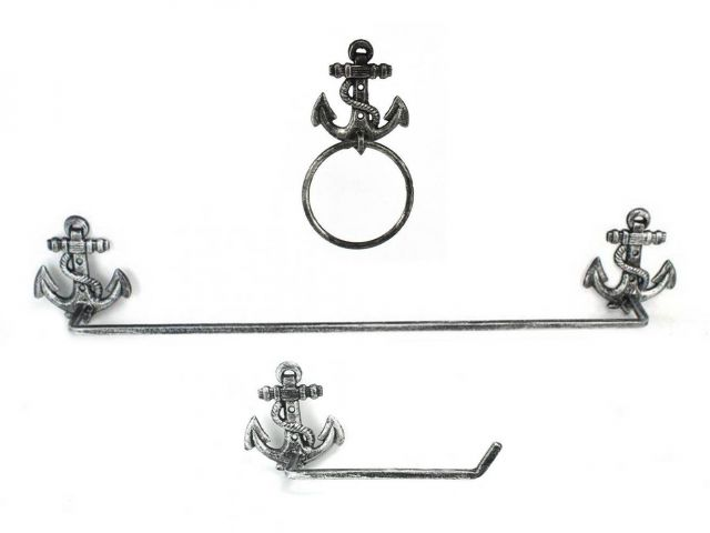Antique Silver Cast Iron Anchor Bathroom  Set of 3 - Large Bath Towel Holder and Towel Ring and Toilet Paper Holder