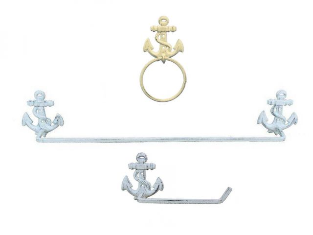 Whitewashed Cast Iron Anchor Bathroom  Set of 3 - Large Bath Towel Holder and Towel Ring and Toilet Paper Holder