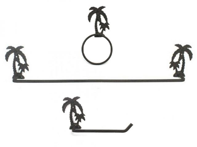 Cast Iron Palm Tree Bathroom Set of 3 - Large Bath Towel Holder and Towel Ring and Toilet Paper Holder