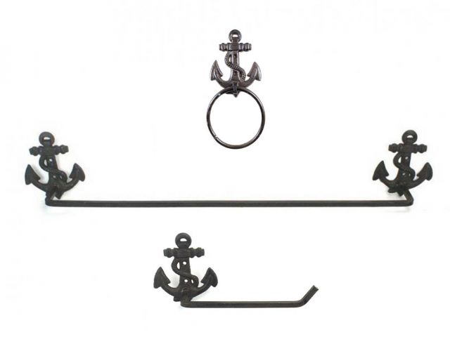 Cast Iron Anchor Bathroom  Set of 3 - Large Bath Towel Holder and Towel Ring and Toilet Paper Holder