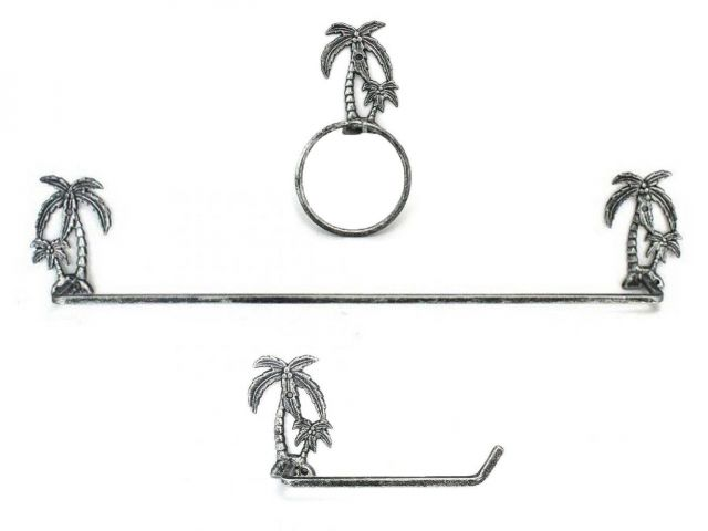 Antique Silver Cast Iron Palm Tree Bathroom Set of 3 - Large Bath Towel Holder and Towel Ring and Toilet Paper Holder