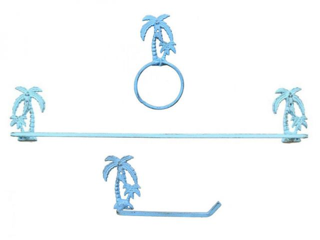 Rustic Light Blue Cast Iron Palm Tree Bathroom Set of 3 - Large Bath Towel Holder and Towel Ring and Toilet Paper Holder