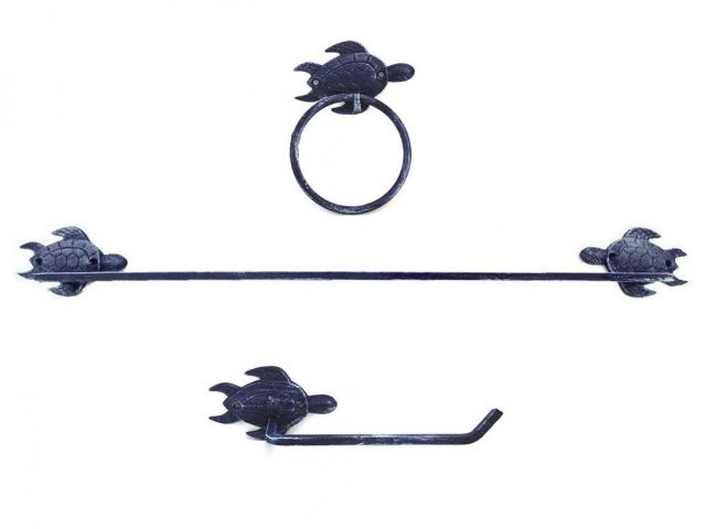 Rustic Dark Blue Cast Iron Sea Turtle Bathroom Set of 3 - Large Bath Towel Holder and Towel Ring and Toilet Paper Holder