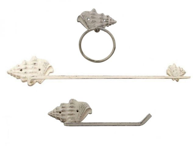 Whitewashed Cast Iron Conch Shell Bathroom Set of 3 - Large Bath Towel Holder and Towel Ring and Toilet Paper Holder