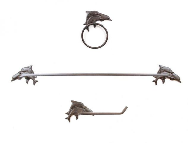 Cast Iron Decorative Dolphins Bathroom Set of 3 - Large Bath Towel Holder and Towel Ring and Toilet Paper Holder