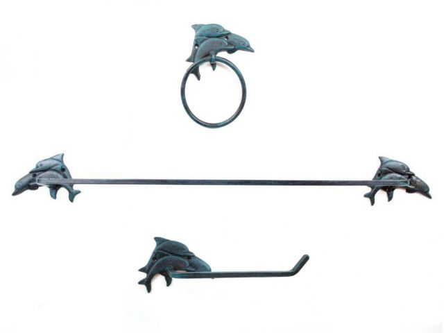 Seaworn Blue Cast Iron Decorative Dolphins Bathroom Set of 3 - Large Bath Towel Holder and Towel Ring and Toilet Paper Holder