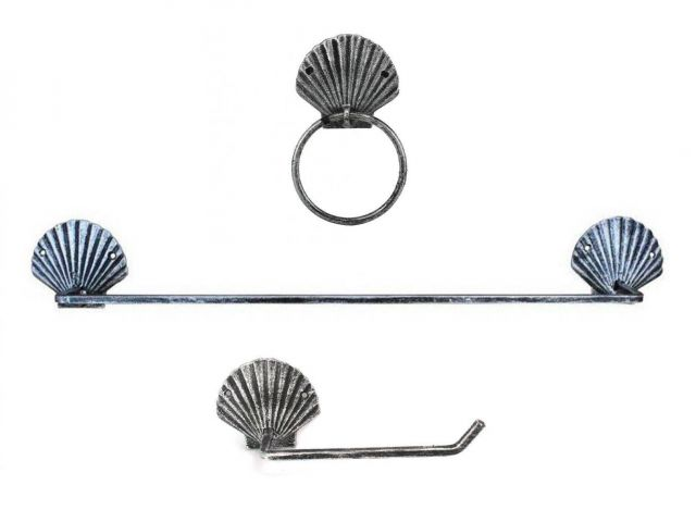 Antique Silver Cast Iron Seashell Bathroom Set of 3 - Large Bath Towel Holder and Towel Ring and Toilet Paper Holder