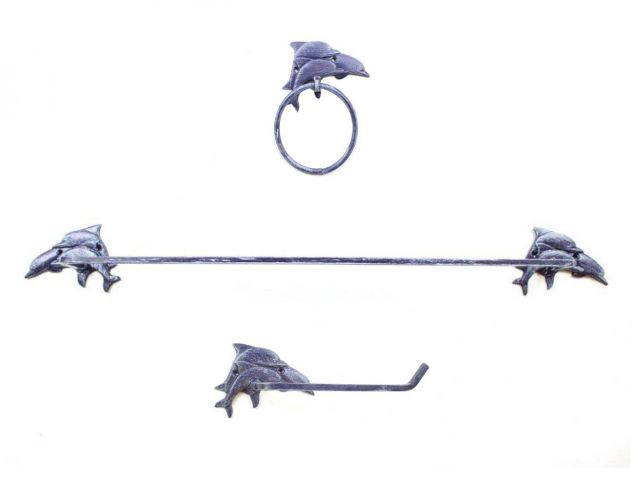 Rustic Dark Blue Cast Iron Decorative Dolphins Bathroom Set of 3 - Large Bath Towel Holder and Towel Ring and Toilet Paper Holder