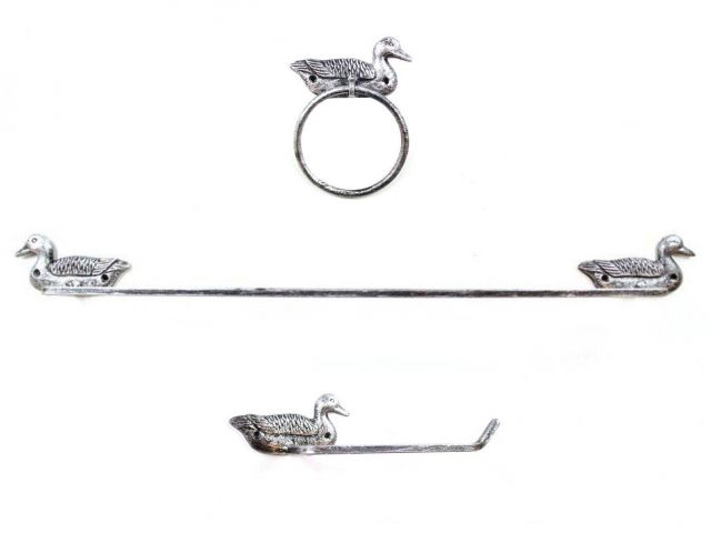 Rustic Silver Cast Iron Mallard Duck Bathroom Set of 3 - Large Bath Towel Holder and Towel Ring and Toilet Paper Holder