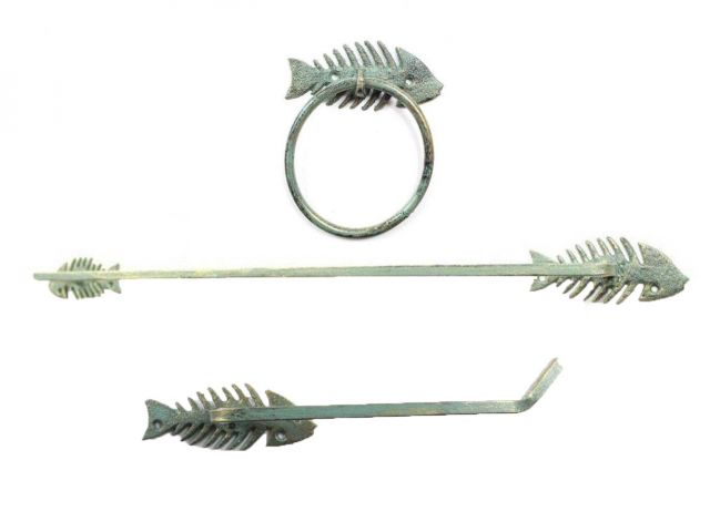Antique Seaworn Bronze Cast Iron Fish Bone Bathroom Set of 3 - Large Bath Towel Holder and Towel Ring and Toilet Paper Holder