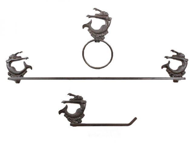 Cast Iron Decorative Arching Mermaid Bathroom Set of 3 - Large Bath Towel Holder and Towel Ring and Toilet Paper Holder