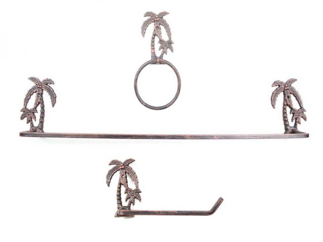 Rustic Copper Cast Iron Palm Tree Bathroom Set of 3 - Large Bath Towel Holder and Towel Ring and Toilet Paper Holder