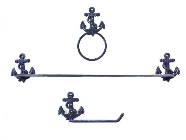 Rustic Dark Blue Cast Iron Anchor Bathroom  Set of 3 - Large Bath Towel Holder and Towel Ring and Toilet Paper Holder