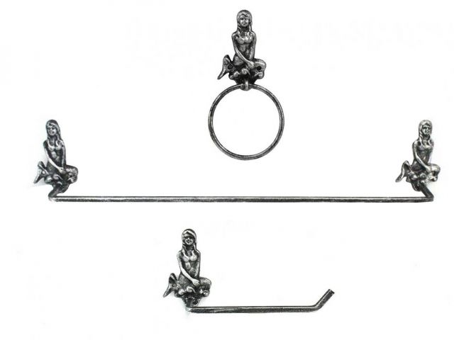 Antique Silver Cast Iron Mermaid Bathroom Set of 3 - Large Bath Towel Holder and Towel Ring and Toilet Paper Holder