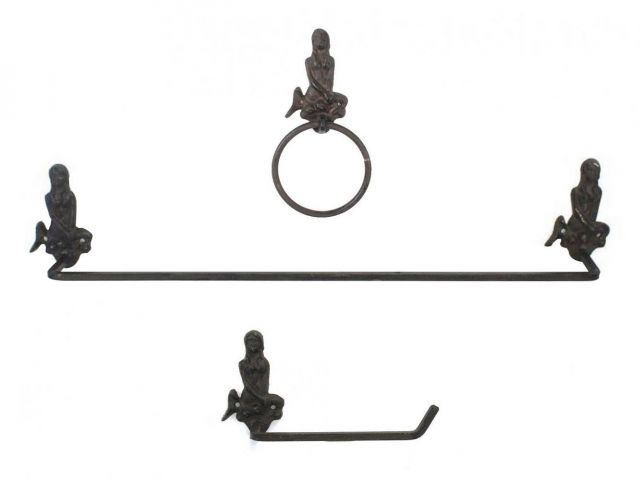 Cast Iron Mermaid Bathroom Set of 3 - Large Bath Towel Holder and Towel Ring and Toilet Paper Holder
