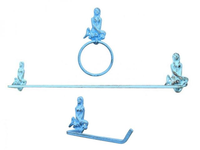 Rustic Light Blue Cast Iron Mermaid Bathroom Set of 3 - Large Bath Towel Holder and Towel Ring and Toilet Paper Holder