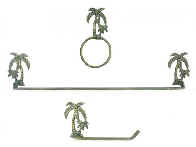 Antique Bronze Cast Iron Palm Tree Bathroom Set of 3 - Large Bath Towel Holder and Towel Ring and Toilet Paper Holder