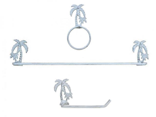 Whitewashed Cast Iron Palm Tree Bathroom Set of 3 - Large Bath Towel Holder and Towel Ring and Toilet Paper Holder