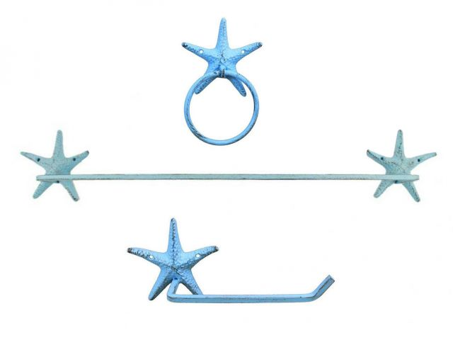 Rustic Light Blue Cast Iron Starfish Bathroom Set of 3 - Large Bath Towel Holder and Towel Ring and Toilet Paper Holder