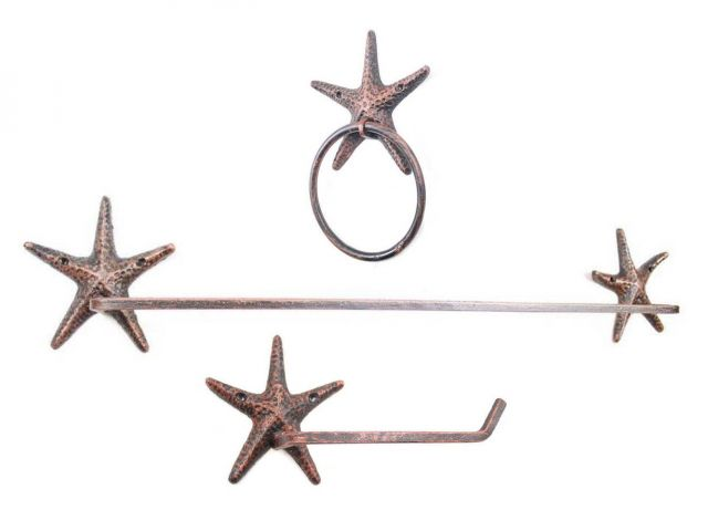 Rustic Copper Cast Iron Starfish Bathroom Set of 3 - Large Bath Towel Holder and Towel Ring and Toilet Paper Holder
