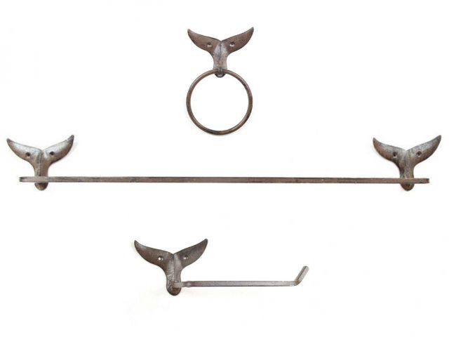 Cast Iron Whale Tail Bathroom Set of 3 - Large Bath Towel Holder and Towel Ring and Toilet Paper Holder