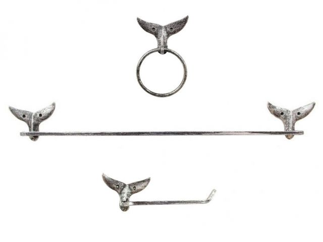 Rustic Silver Cast Iron Whale Tail Bathroom Set of 3 - Large Bath Towel Holder and Towel Ring and Toilet Paper Holder
