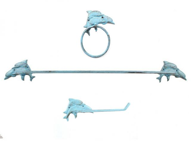 Rustic Light Blue Cast Iron Decorative Dolphins Bathroom Set of 3 - Large Bath Towel Holder and Towel Ring and Toilet Paper Holder