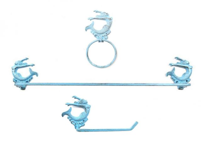 Rustic Light Blue Cast Iron Decorative Arching Mermaid Bathroom Set of 3 - Large Bath Towel Holder and Towel Ring and Toilet Paper Holder