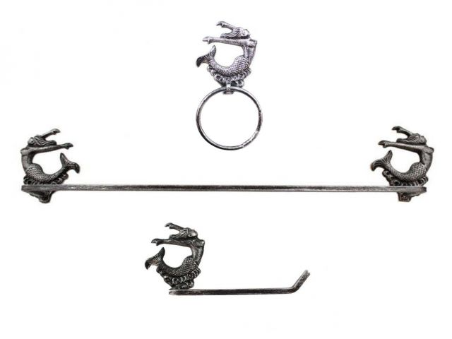 Rustic Silver Cast Iron Decorative Arching Mermaid Bathroom Set of 3 - Large Bath Towel Holder and Towel Ring and Toilet Paper Holder