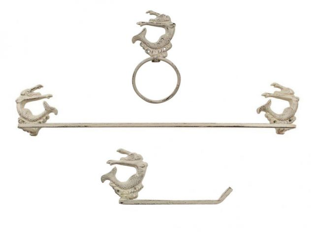 Whitewashed Cast Iron Decorative Arching Mermaid Bathroom Set of 3 - Large Bath Towel Holder and Towel Ring and Toilet Paper Holder