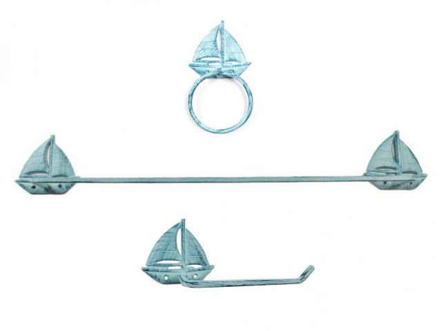 Rustic Dark Blue Whitewashed Cast Iron Sailboat Bathroom Set of 3 - Large Bath Towel Holder and Towel Ring and Toilet Paper Holder
