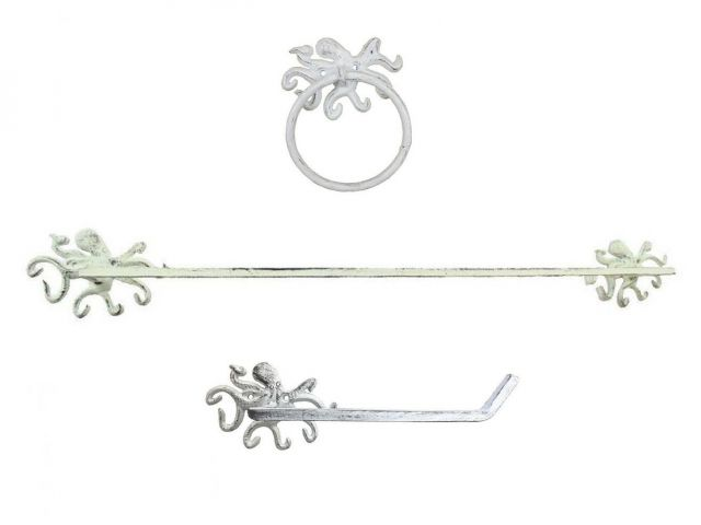 Whitewashed Cast Iron Octopus Bathroom Set of 3 - Large Bath Towel Holder and Towel Ring and Toilet Paper Holder