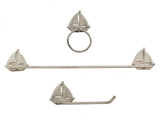 Whitewashed Cast Iron Sailboat Bathroom Set of 3 - Large Bath Towel Holder and Towel Ring and Toilet Paper Holder