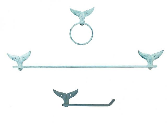 Rustic Light Blue Cast Iron Whale Tail Bathroom Set of 3 - Large Bath Towel Holder and Towel Ring and Toilet Paper Holder