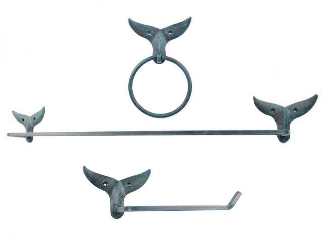 Seaworn Blue Cast Iron Whale Tail Bathroom Set of 3 - Large Bath Towel Holder and Towel Ring and Toilet Paper Holder
