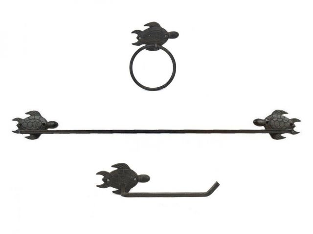 Cast Iron Sea Turtle Bathroom Set of 3 - Large Bath Towel Holder and Towel Ring and Toilet Paper Holder