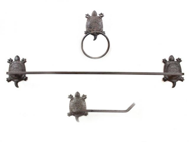 Cast Iron Turtle Bathroom Set of 3 - Large Bath Towel Holder and Towel Ring and Toilet Paper Holder