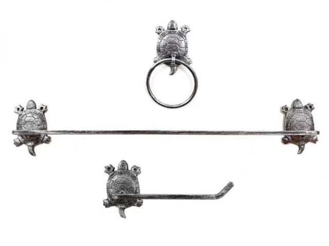 Rustic Silver Cast Iron Turtle Bathroom Set of 3 - Large Bath Towel Holder and Towel Ring and Toilet Paper Holder