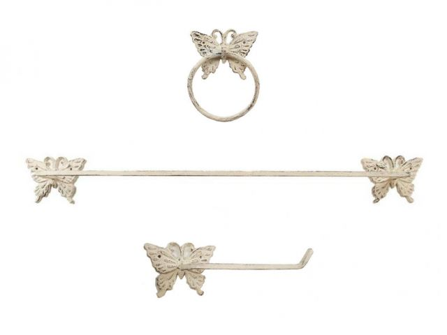 Whitewashed Cast Iron Butterfly Bathroom Set of 3 - Large Bath Towel Holder and Towel Ring and Toilet Paper Holder