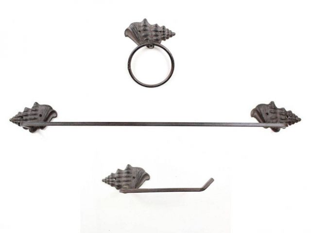 Cast Iron Conch Shell Bathroom Set of 3 - Large Bath Towel Holder and Towel Ring and Toilet Paper Holder