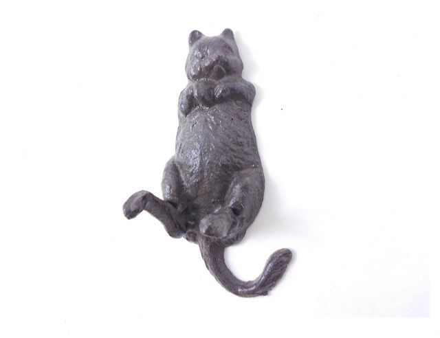 Cast Iron Happy Fat Cat Wall Hook 6