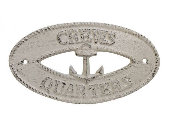 Aged White Cast Iron Crews Quarters with Anchor Sign 8