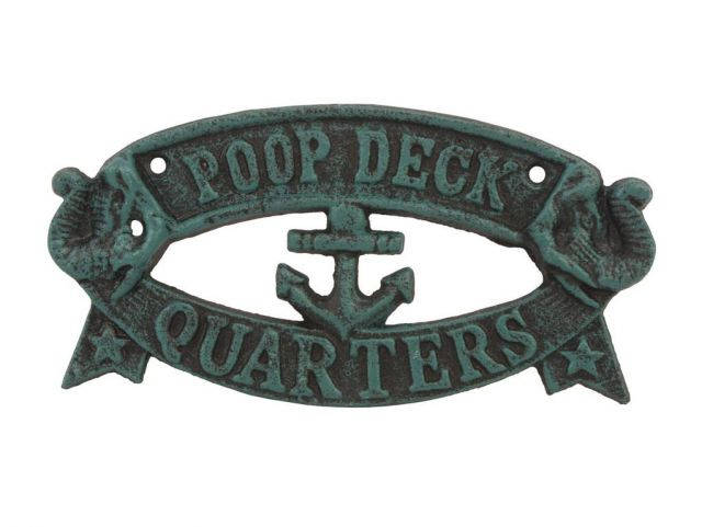 Seaworn Blue Cast Iron Poop Deck Quarters Sign 8