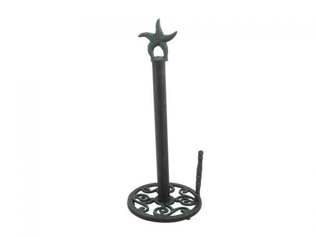 Seaworn Blue Cast Iron Starfish Paper Towel Holder 15