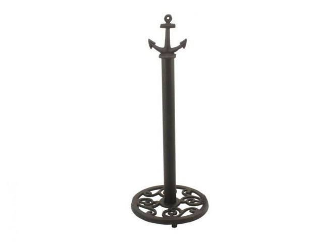 Rustic Black Cast Iron Anchor Extra Toilet Paper Stand 16